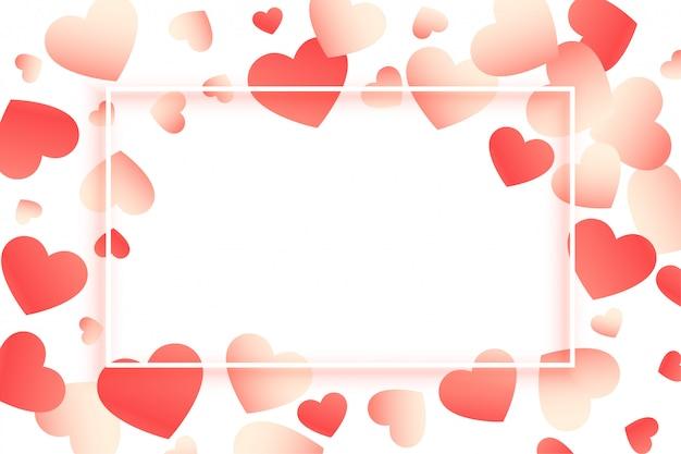 Moldura de dia dos namorados linda corações com espaço de texto