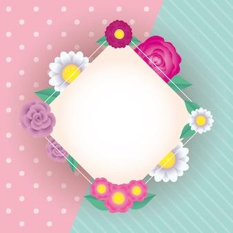 Moldura de diamante decorativo de flores e folhas
