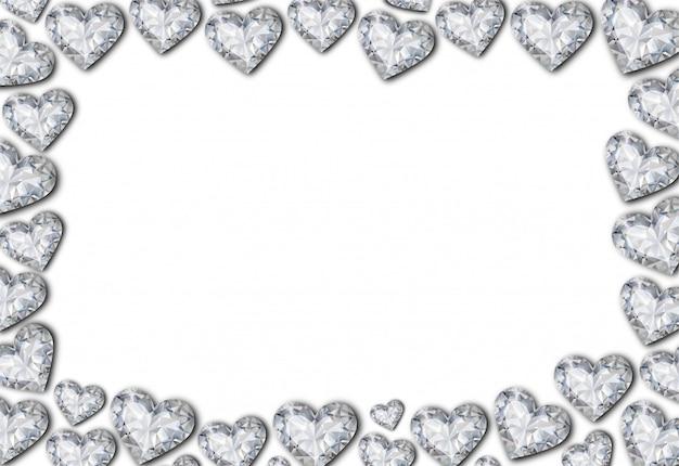 Moldura de diamantes em forma de coração