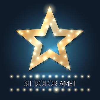 Moldura de estrela de hollywood retrô com mensagem e luzes