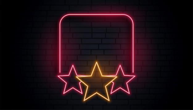 Moldura de estrela de néon vazia com espaço de texto