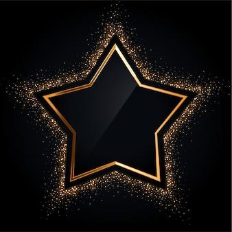 Moldura de estrela dourada com glitter dourado