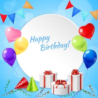 Moldura de feliz aniversário realista