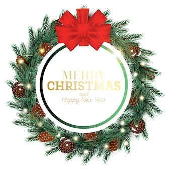Moldura de feliz natal com arco, cones, luzes de néon e ramos de abeto