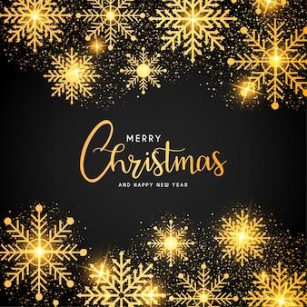 Moldura de feliz natal com flocos de neve dourados