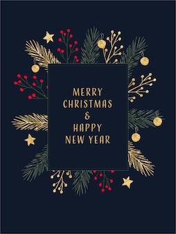 Moldura de feliz natal e feliz ano novo para moldura de foto de banner de panfleto de cartão de convite