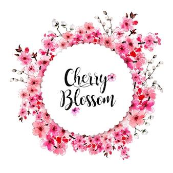 Moldura de flor de cerejeira floral aquarela cartão multifunções