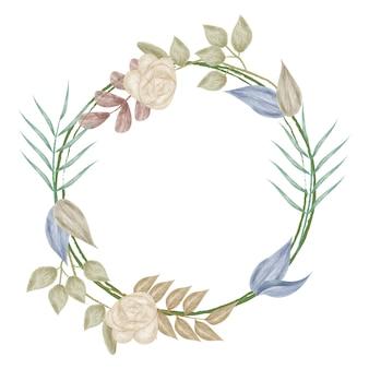 Moldura de flor em aquarela