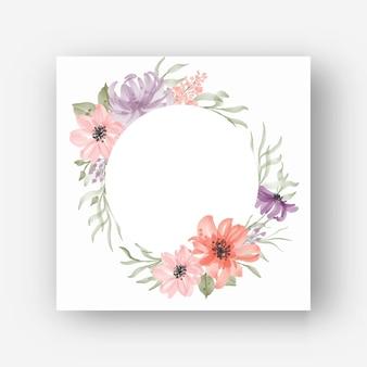 Moldura de flor redonda com flores em aquarela