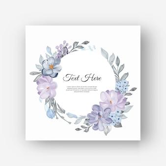 Moldura de flor redonda com flores lilás
