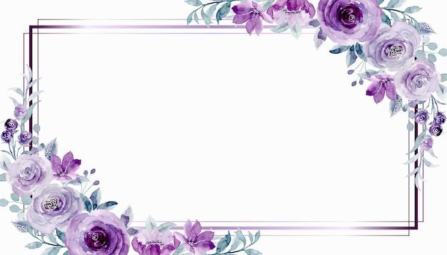 Moldura de flor rosa roxa em aquarela