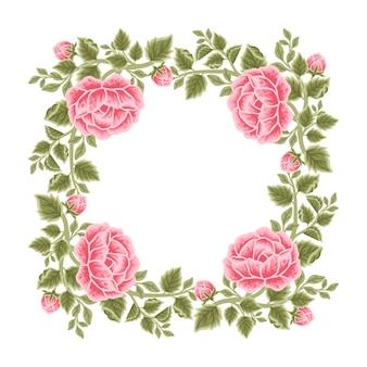 Moldura de flor rosa vintage e arranjos de grinalda