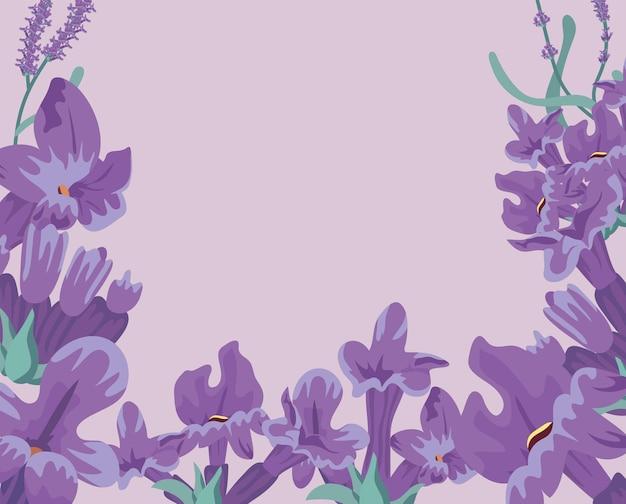 Moldura de flores lavanda