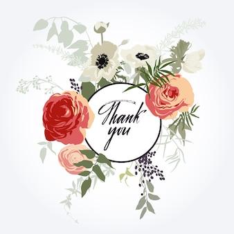Moldura de flores. obrigado cartão