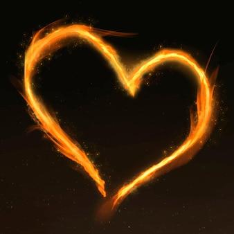 Moldura de fogo coração laranja