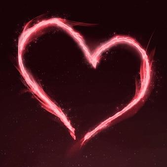 Moldura de fogo coração rosa