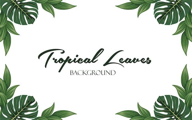 Moldura de folha tropical minimalista