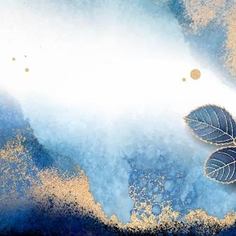 Moldura de folhas azuis em branco