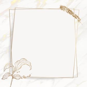 Moldura de folhas douradas com pincel