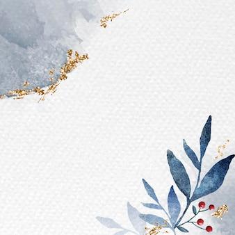 Moldura de folhas em aquarela cintilante
