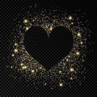 Moldura de forma de coração com glitter dourado em fundo escuro transparente. cartão com fundo escuro vazio. ilustração vetorial.