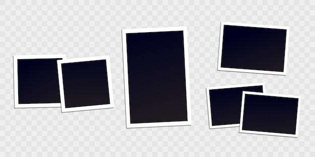 Moldura de foto. borda branca em um fundo transparente