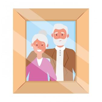 Moldura de foto de casal de idosos