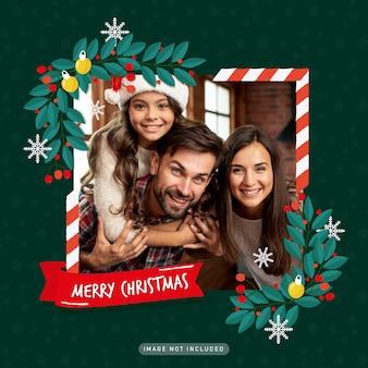 Moldura de foto de saudação de férias de natal