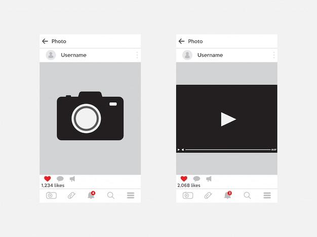 Moldura de foto do instagram e quadro de vídeo. modelo para mídia social. conceito de interface.