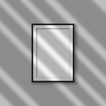 Moldura de foto em branco realista com efeito de sobreposição de sombra