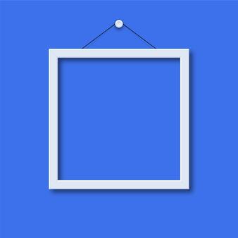 Moldura de foto em fundo azul