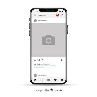 Moldura de foto realística do instagram no smartphone