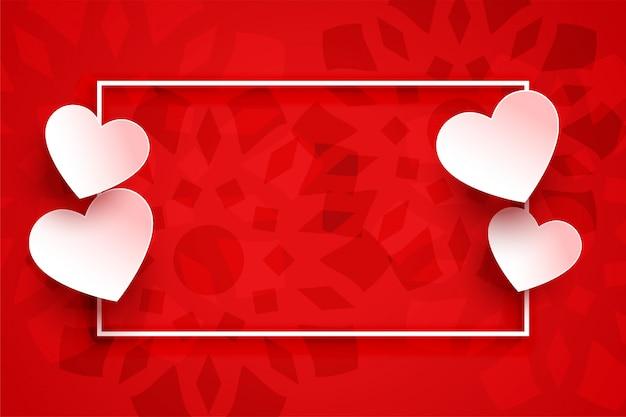 Moldura de fundo de corações vermelhos com espaço de texto