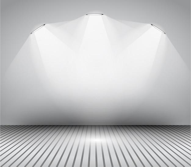 Moldura de galeria de arte interior moderna com holofotes.