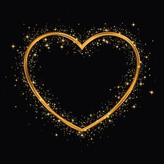 Moldura de glitter dourados de forma de coração.
