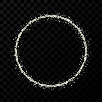 Moldura de glitter prata. quadro de círculo com brilhos brilhantes em fundo escuro e transparente. ilustração vetorial