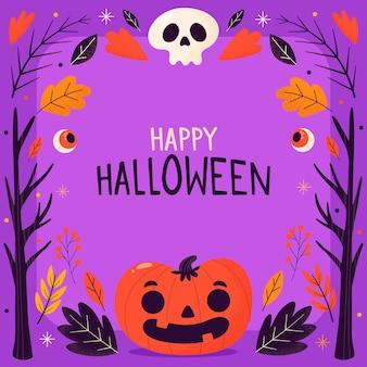 Moldura de halloween com abóbora e caveira desenhada à mão