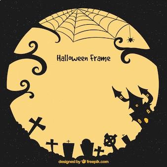 Moldura de halloween com casa e cemtery