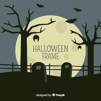 Moldura de halloween com cemitério