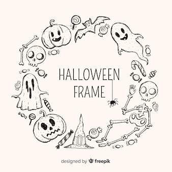 Moldura de halloween com elementos de mão desenhada