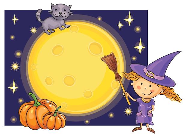 Moldura de halloween com lua