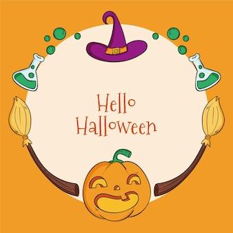 Moldura de halloween desenhada à mão com abóbora