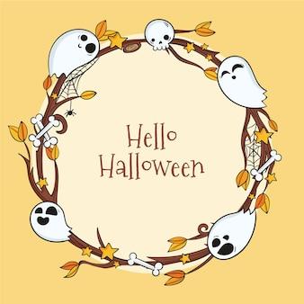Moldura de halloween desenhada à mão com fantasmas