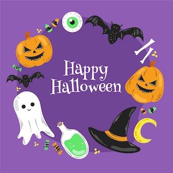 Moldura de halloween desenhada à mão