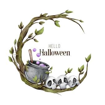 Moldura de halloween em aquarela