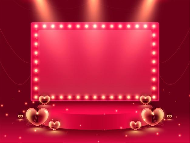 Moldura de letreiro rosa vazia sobre o palco ou pódio com corações no fundo do efeito de luzes vermelhas
