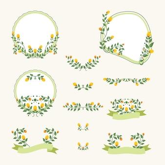 Moldura de logotipo para casamento design floral vintage