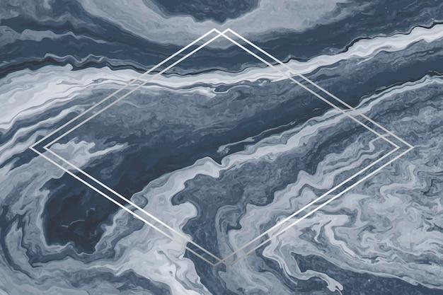 Moldura de losango prateada em fundo de mármore azul