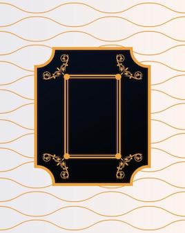 Moldura de luxo com estilo vitoriano em ondas douradas de fundo