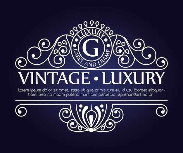 Moldura de luxo vintage gráfico para etiqueta ou logotipo com ornamentos